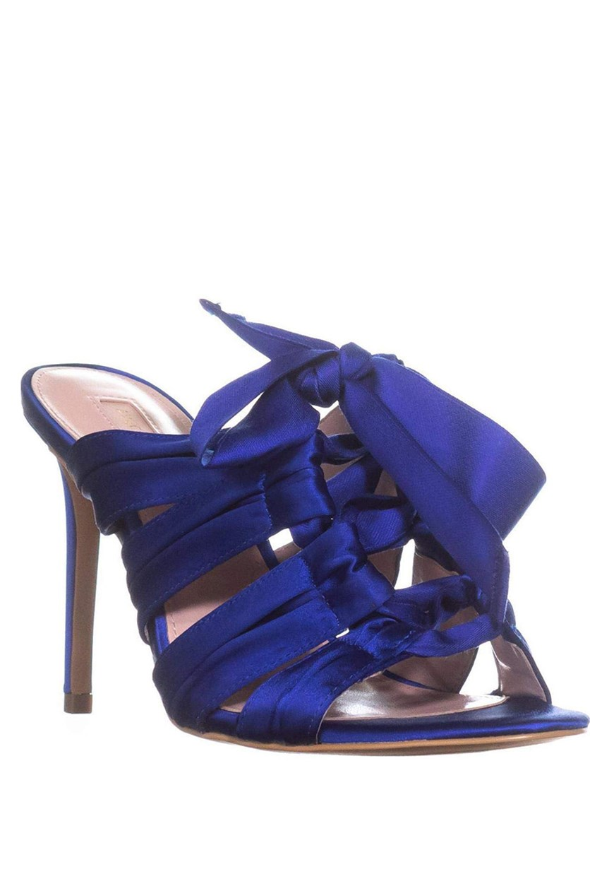 Womens Janelle Satin Lace-Up Dress Sandals, Royal Blue