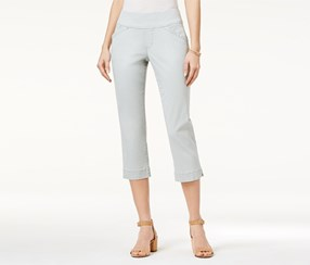 Jag Marion Pull-On Skinny Colored Cropped Jeans, Light Blue