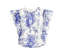 Guess  Girls Floral-Print Chiffon Top, White/Blue