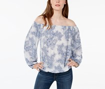 Tommy Hilfiger Paisley-Print Off-The-Shoulder Top, White/Blue