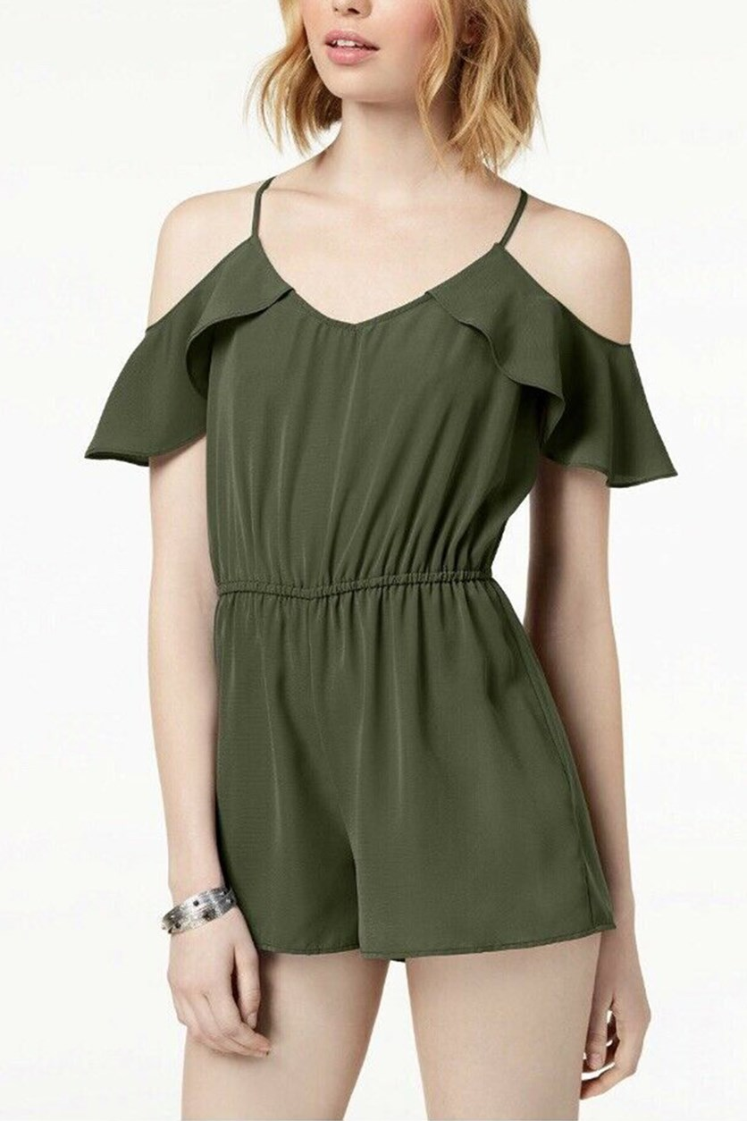 Juniors Flutter-Sleeved Cold-Shoulder Romper, Olive