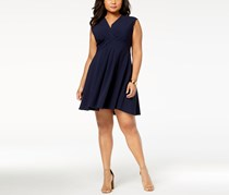 Jessica Howard Plus Size Pleated Fit Flare Dress, Navy