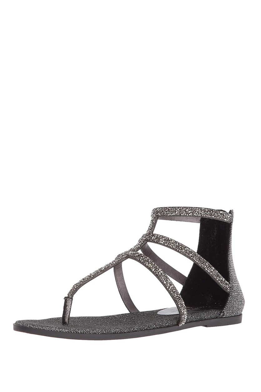 Women's Cammie Flat Sandal, Pewter Combo