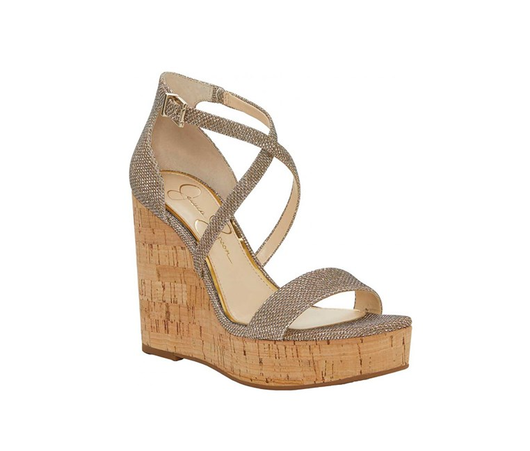 Stassi Cross Strap Wedge Sandal, Gold
