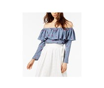 Jill Jill Stuart Off-The-Shoulder Flounce Top, Chambray Rose Print
