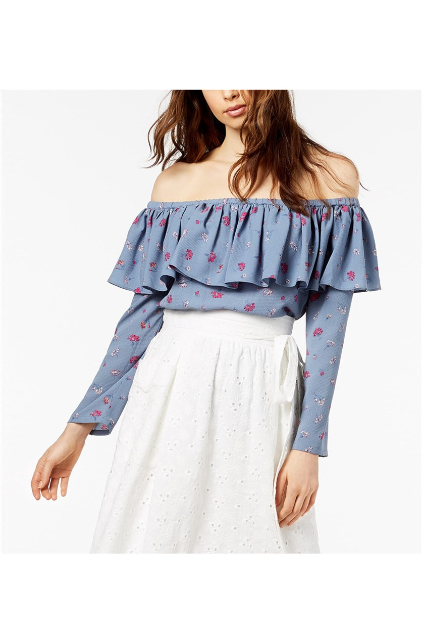 Off-The-Shoulder Flounce Top, Chambray Rose Print