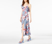 Women's Floral-Print Asymmetrical Dress, Chambray Rose