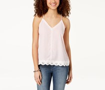 Almost Famous Juniors Gingham Crochet Tank, Pink/White
