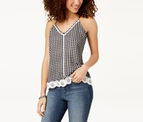 Almost Famous Juniors Gingham Crochet Tank, Black/White