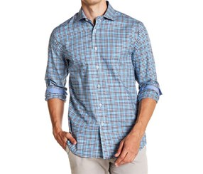 James Tattersall Woven Cotton Teal Check Sport Shirt, Blue
