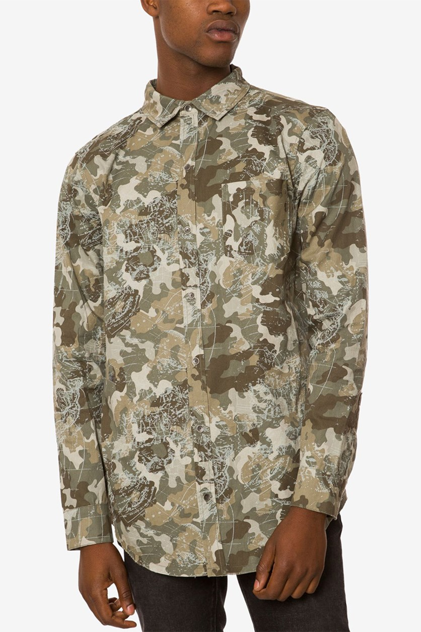 Men's Back-Zip Camo Shirt, Camo/Olive