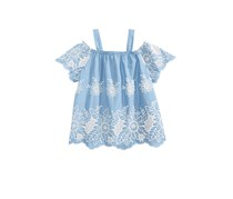 Monteau Kid's Girl Embroidered Cotton Top, Blue