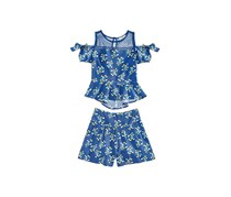 Kandy Kiss Big Girls 2-Pc. Floral-Print,  Navy