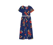 Monteau Girl's Floral-Print Maxi Romper, Navy