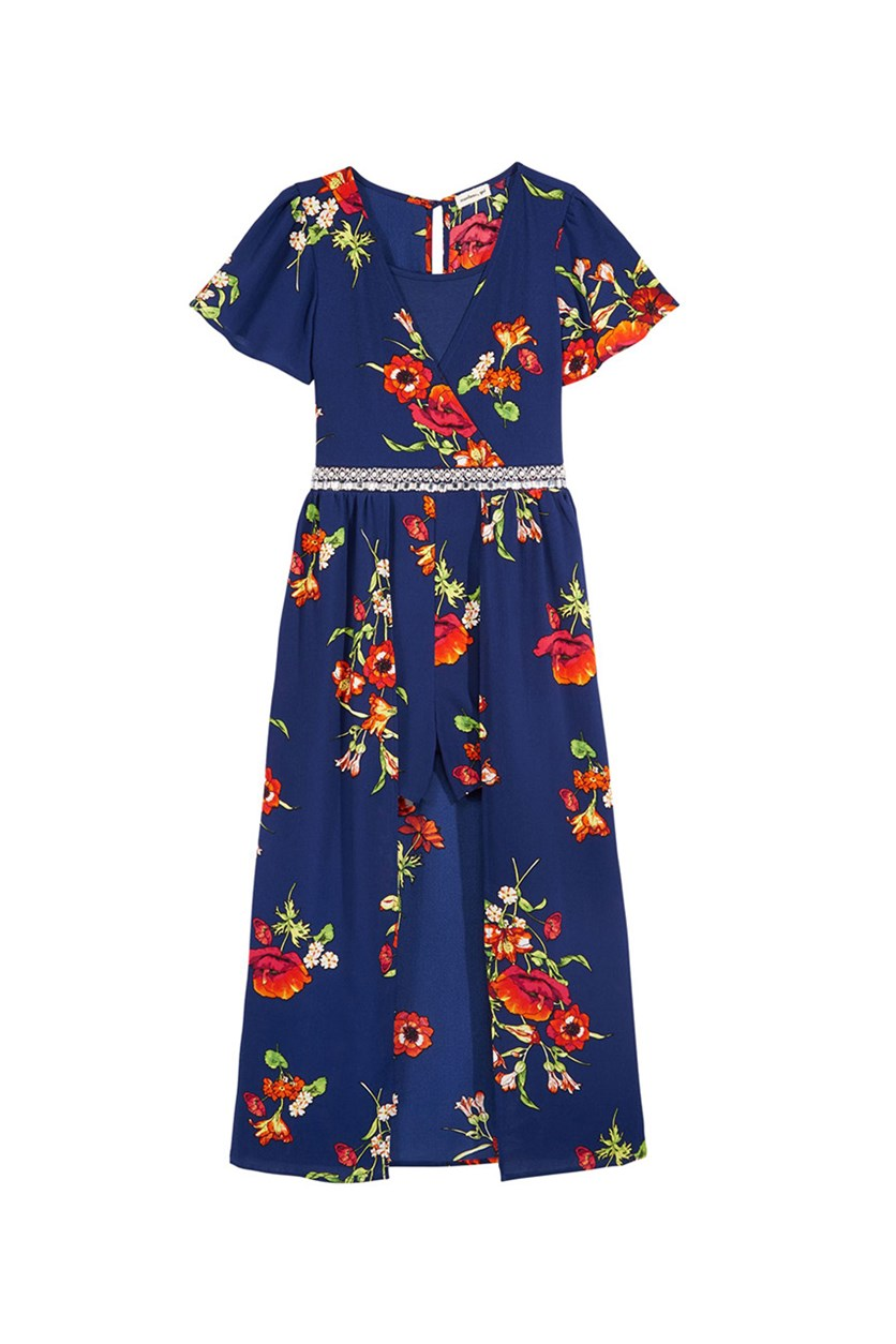 Girl's Floral-Print Maxi Romper, Navy