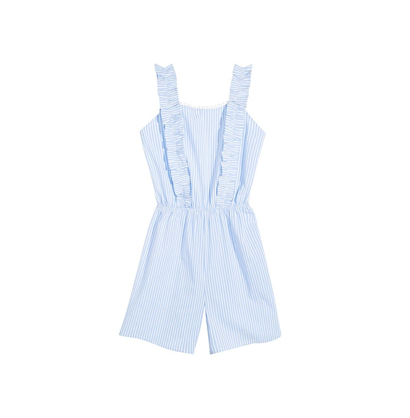 Big Girls Striped Romper, Light Blue