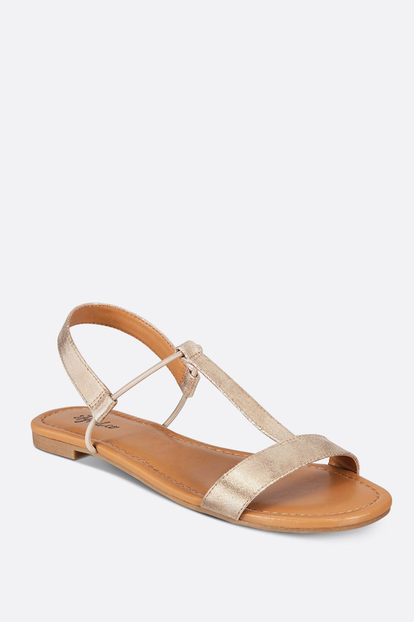 Kristee T-Strap Flat Sandals, Gold
