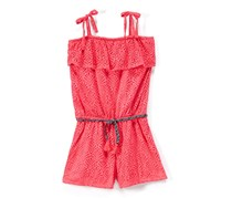 Kensie Toddlers Girls Lace Rompers with Braided Belt, Neon Pink