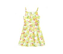 Us Angels Girl's Tropical Print Sundress, Yellow/Lime