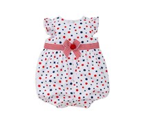 Little Me Baby Girls' Stars Printed Sunsuit, White/Red
