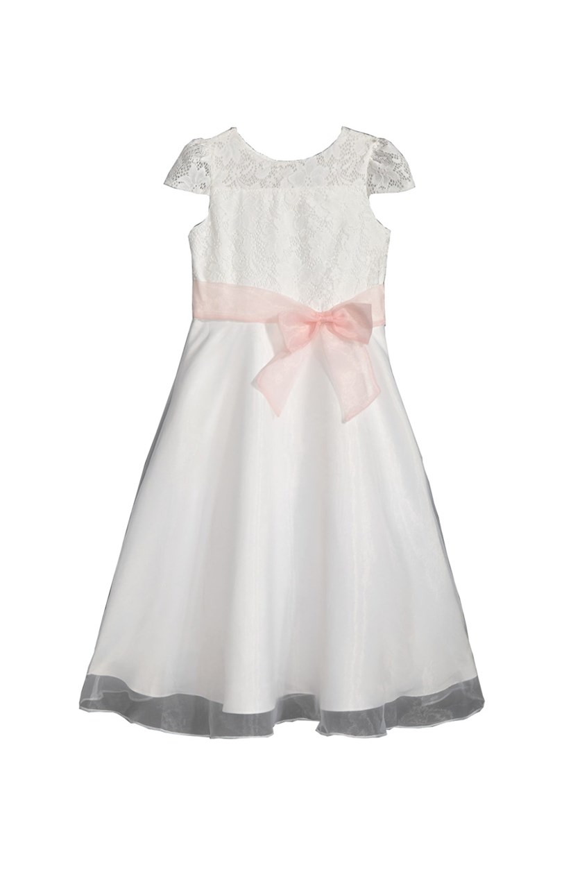 Girls Lace Illusion-Neck Dress, Ivory/Pink