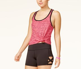 Material Girl Active Lattice-Back Tank Top, Pink