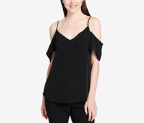 Calvin Klein Off-The-Shoulder Faux-Pearl Top, Black