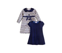 Blueberi Boulevard 2-Pc. Geometric-Print Jacket & Dress Set, Navy