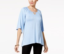 Cable & Gauge Elbow-sleeve Keyhole Top, Chambray Blue