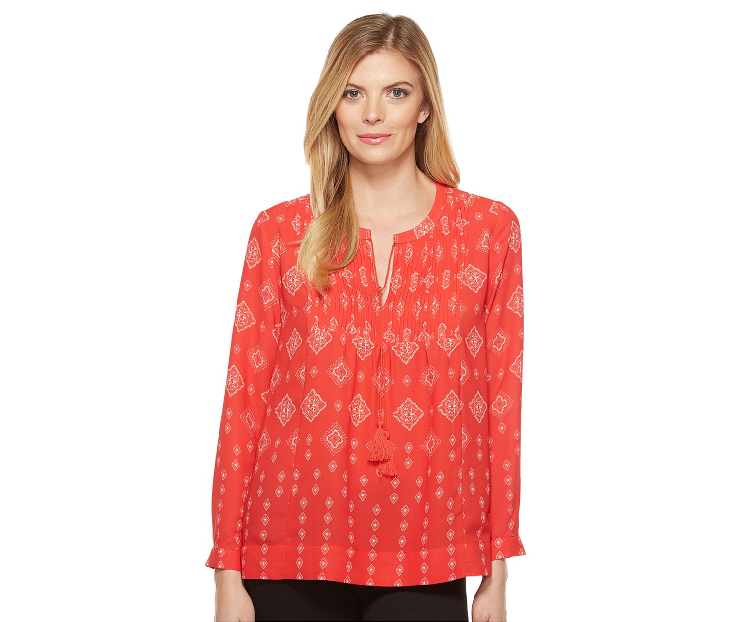 NYDJ Women's Bandana Print Blouse, Red