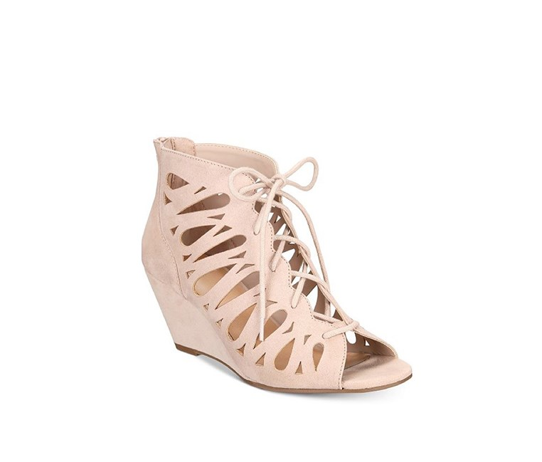 Harlie Lace Up Wedge Sandals, Taupe