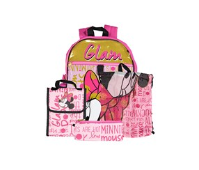 Kids Girls Minnie Mouse Backpack, Pink Combo