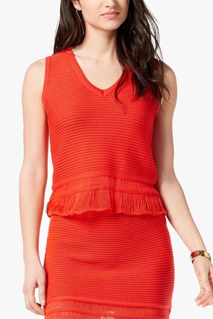 Women's Sleeveless V-Neck Top, Red