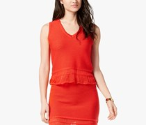 Moon River Women's Sleeveless V-Neck Top, Red