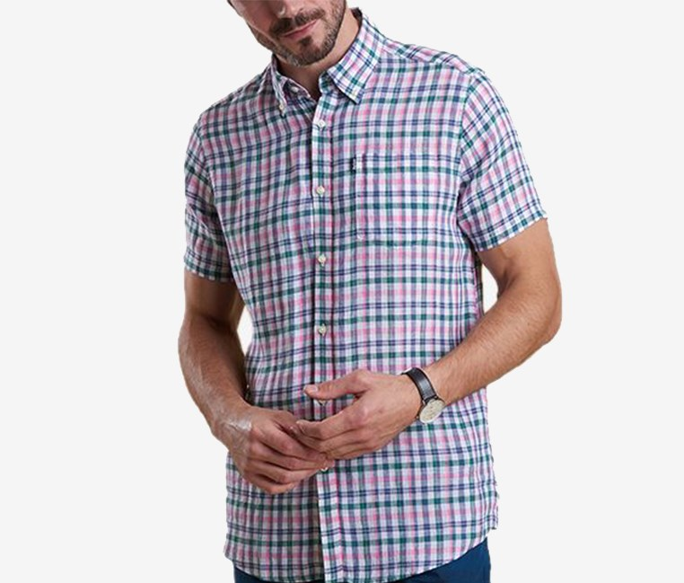 Men's Leon Tailored-Fit Check Linen Shirt, Green/Pink/White