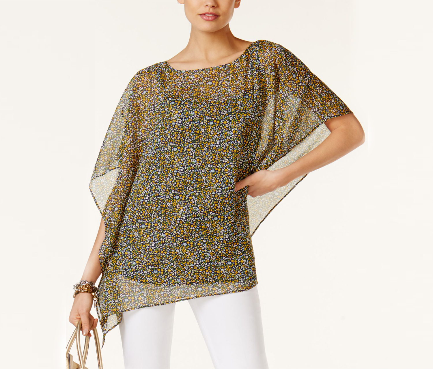 Michael Kors Women's Chiffon Metallic Poncho Top, Taxi Yellow
