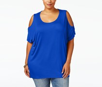 Ing Collection Women's Plus Size Cold-Shoulder Top, Blue