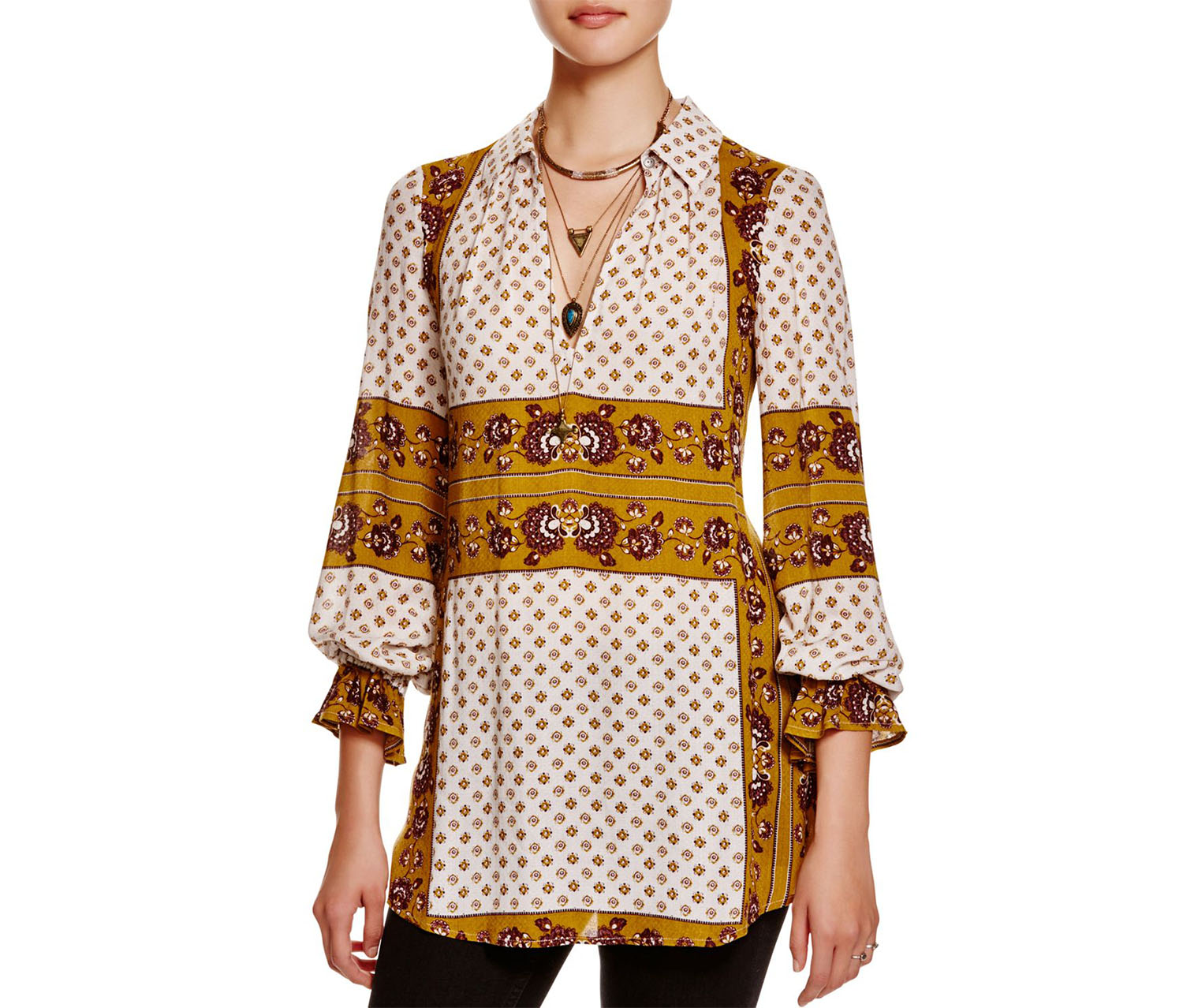 Free People Women's Mixed Print Tunic Blouse, Ash Combo