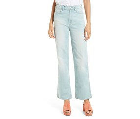 Free People Women's High Rise Straight Flare Jeans, Blue