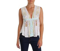 Free People Women's V-Neck Peasant Top, Purple/Blue/Tan