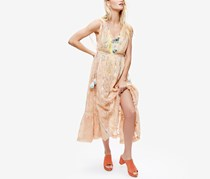 Free People Women's Shine On Lace Sequined Dress, Peach