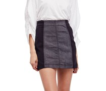 Free People Womens Denim Colorblock Denim Skirt, Black