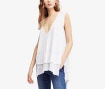 Free People Peachy Cotton Layered-Look Top, White