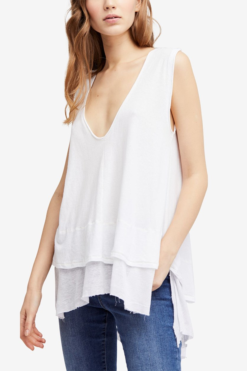 Peachy Cotton Layered-Look Top, White