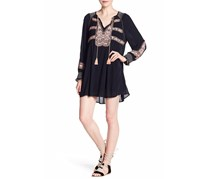 Free People Wind Willow Embroidered Shift Mini Dress, Black