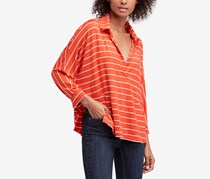 Free People Women's Can'T Fool Me Stripe Top, Red Orange