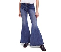 Free People Women Low-Rise Flared Jeans, Dawn Blue Wash