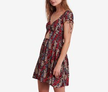 Free People Miss Right Cutout Skater Dress, Black Combo
