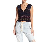 Free People Love Dove Embroidered Tank, Black