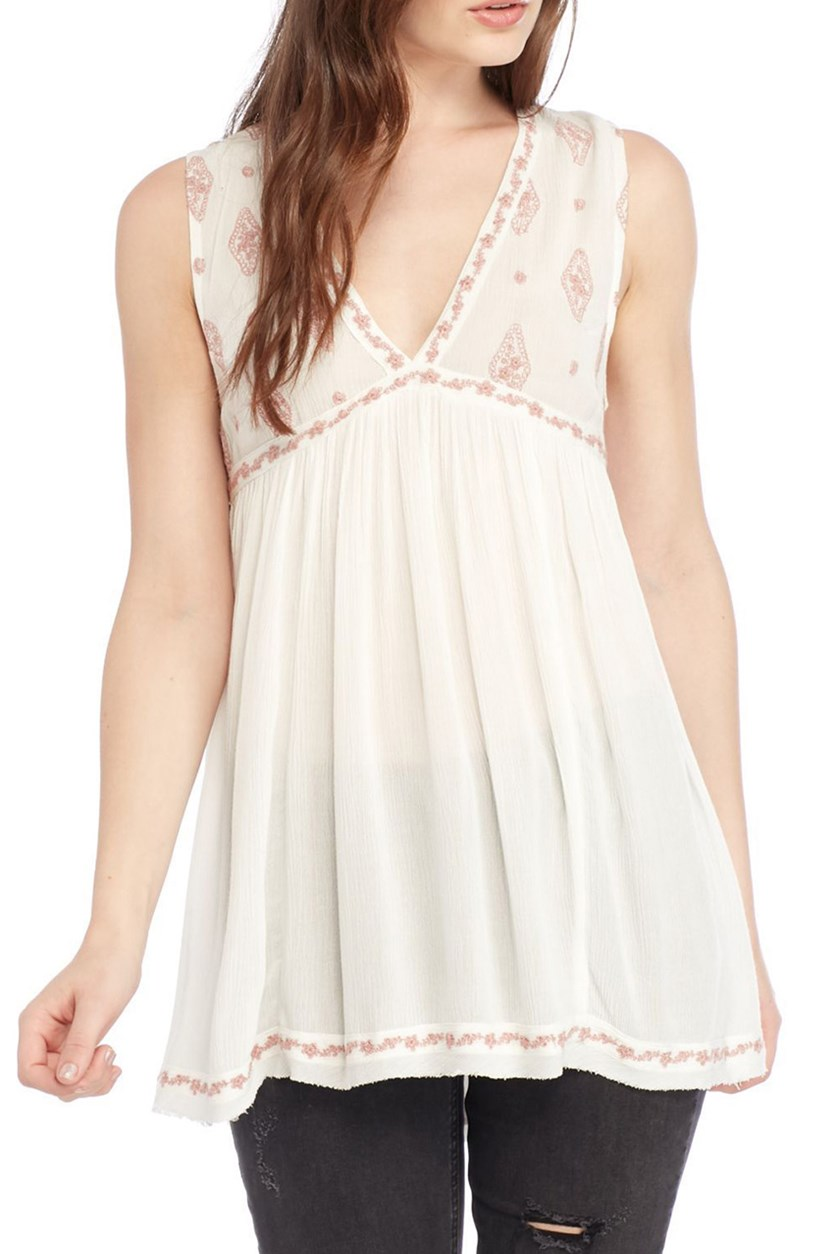 Embroidered Sleeveless Top, Ivory